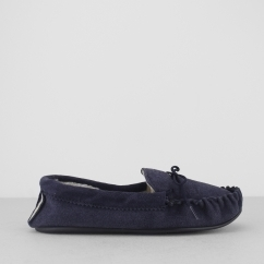 SHERIDAN Mens Moccasin Slippers Navy