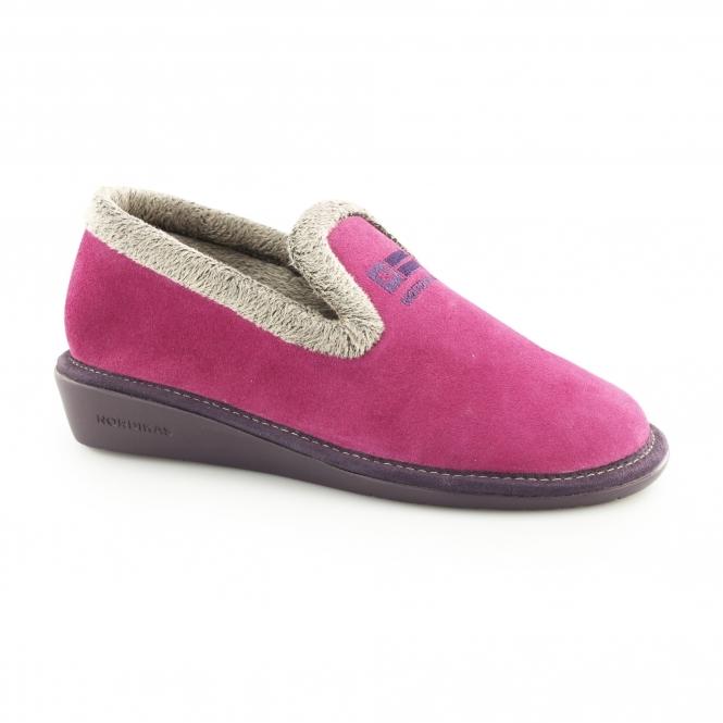 Ladies Womens Suede Leather Slip On Full Slippers Stone AFELPADO Nordikas 305