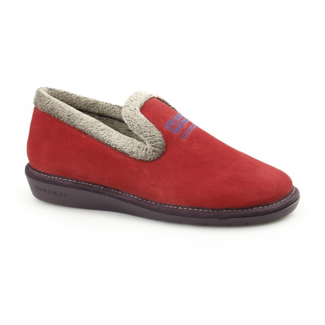 0b8909ae82c86 Nordikas 305 (AFELPADO) Ladies Suede Slippers Red