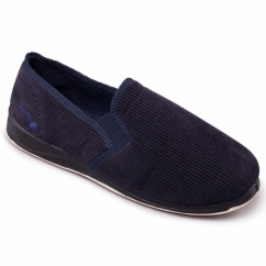 ALBERT Mens Textile Wide (G Fit) Full Slippers Navy