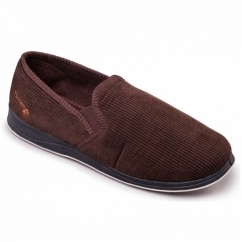 ALBERT Mens Textile Wide (G Fit) Full Slippers Brown