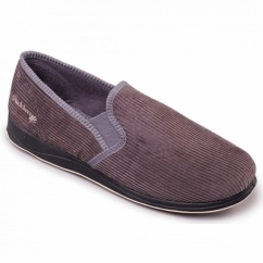ALBERT Mens Textile Wide (G Fit) Full Slippers Grey