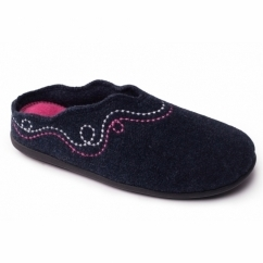 ASPEN Ladies Felt Extra Wide (2E/3E) Mule Slippers Navy