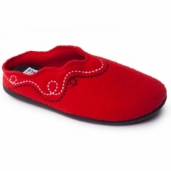 ASPEN Ladies Felt Extra Wide (2E/3E) Mule Slippers Red