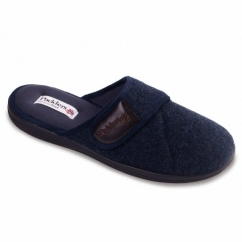 BAXTER Mens Microsuede Wide (G Fit) Mule Slippers Navy