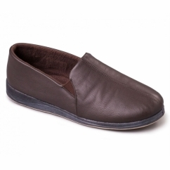 BEN Mens Leather Wide (G Fit) Full Slippers Brown