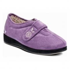 CAMILLA Ladies Microsuede Extra Wide (2E) Full Slippers Lavender