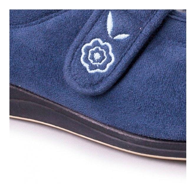 3dd7fc1ed902 CAMILLA Ladies Microsuede Extra Wide (2E) Full Slippers Denim Blue
