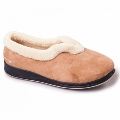 CARMEN Ladies Microsuede Extra Wide (2E) Full Slippers Camel