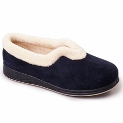 CARMEN Ladies Microsuede Extra Wide (2E) Full Slippers Navy