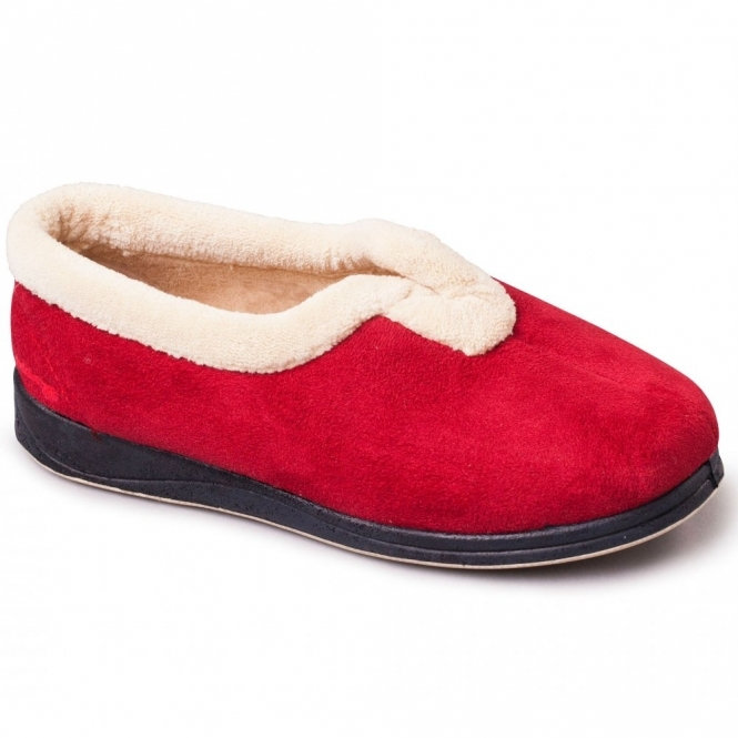 CARMEN Ladies Extra Wide EE Fit Full Slippers Red
