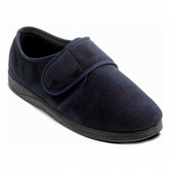 CHARLES Mens Microsuede Wide (G Fit) Full Slippers Navy