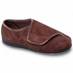 CHRIS Mens Microsuede Wide (G Fit) Full Slippers Dark Brown