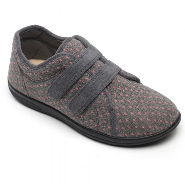 Padders Duo Ladies Extra Wide 2e 3e Slippers Grey