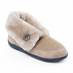 EDEN Ladies Microsuede Extra Wide (2E) Boot Slippers Camel