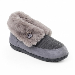 EDEN Ladies Microsuede Extra Wide (2E) Boot Slippers Grey