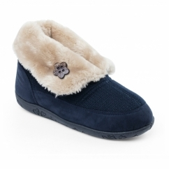 EDEN Ladies Microsuede Extra Wide (2E) Boot Slippers Navy