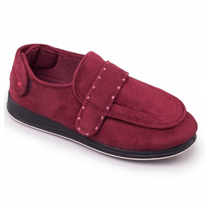 92b2289219c Padders ENFOLD Ladies Extra Wide EE Fit Touch Fasten Slippers Burgundy