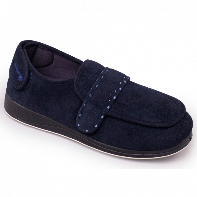 d8c102a24f4 Padders ENFOLD Ladies Extra Wide EE Fit Touch Fasten Slippers Navy