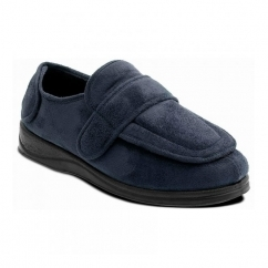 ENFOLD Unisex Microsuede Extra Wide (2E) Full Slippers Navy