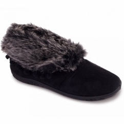 ESKIMO Ladies Microsuede Extra Wide (2E) Boot Slippers Black