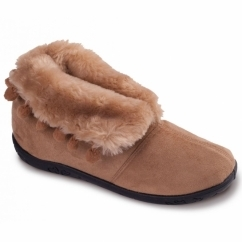 ESKIMO Ladies Microsuede Extra Wide (2E) Boot Slippers Camel