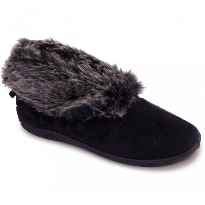 fc5bce63f9 Padders ESKIMO Ladies Faux Fur Extra Wide EE Fit Boot Slippers Black