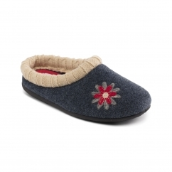 FREESIA Ladies Felt Extra Wide (2E/3E) Slippers Navy