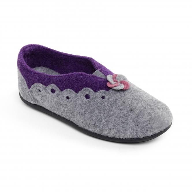 70eb47b85d5 HANNAH Ladies Felt Extra Wide (2E 3E) Mule Slippers Grey Purple