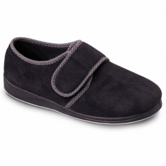 HARRY Mens Microsuede Wide (G Fit) Full Slippers Black