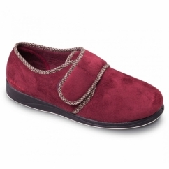 HARRY Mens Microsuede Wide (G Fit) Full Slippers Burgundy