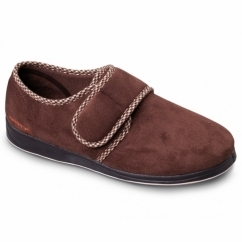 HARRY Mens Microsuede Wide (G Fit) Full Slippers Dark Brown