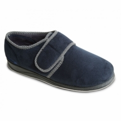 HARRY Mens Microsuede Wide (G Fit) Full Slippers Navy