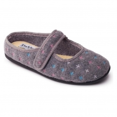 HEIDI Ladies Felt Extra Wide (2E/3E) Mule Slippers Grey