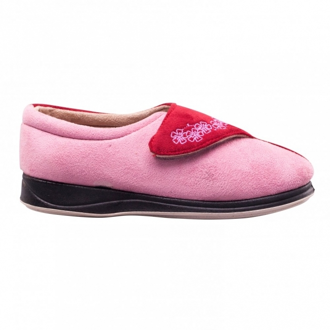 b0f6907d871 Padders HUG Ladies Microsuede Extra Wide EE Fit Touch Fasten Slippers  Pink/Red
