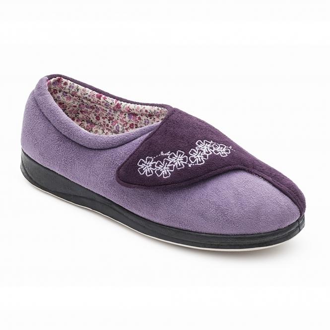 f8efd1b99f59 HUG Ladies Microsuede Extra Wide (2E) Slippers Purple