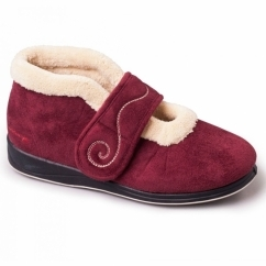 HUSH Ladies Microsuede Extra Wide (2E) Boot Slippers Burgundy