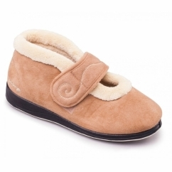 HUSH Ladies Microsuede Extra Wide (2E) Boot Slippers Camel