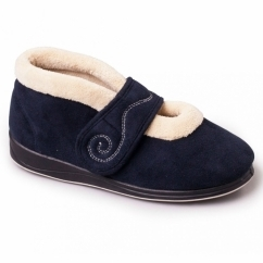 HUSH Ladies Microsuede Extra Wide (2E) Boot Slippers Navy
