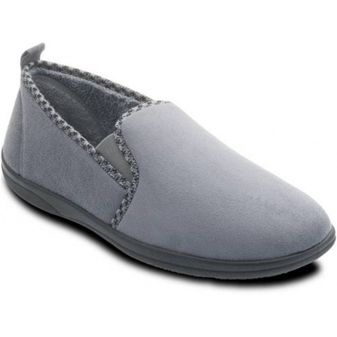 a6d15fcf235 Padders LEWIS Mens Wide G Fit Full Slippers Grey