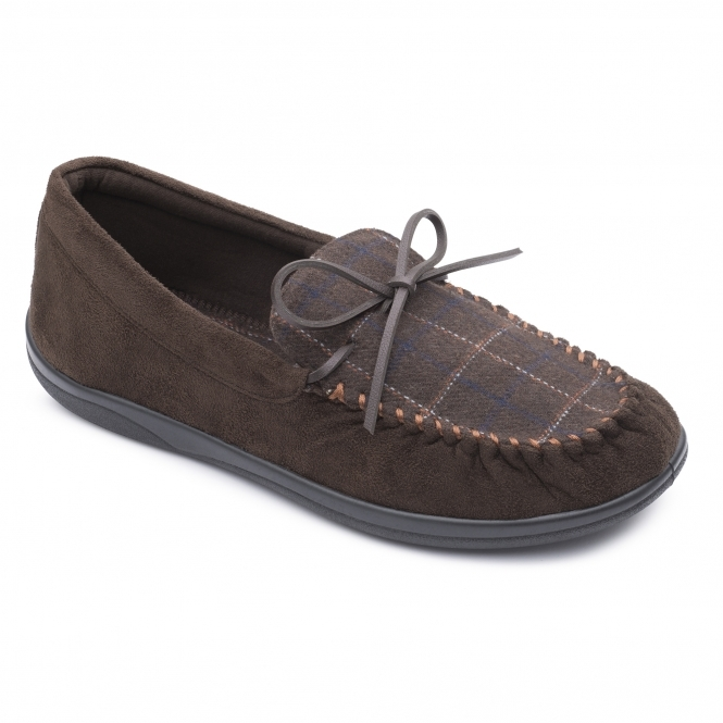 2ccb235e21b5 Padders LOUNGE Mens Textile Wide (G Fit) Slippers Brown