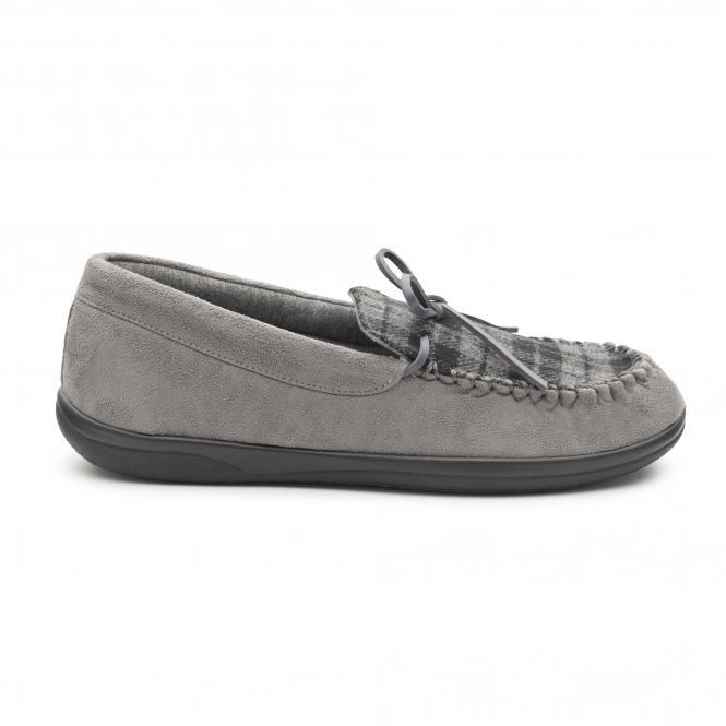 724e51ea0561 Padders LOUNGE Mens Textile Wide (G Fit) Slippers Grey