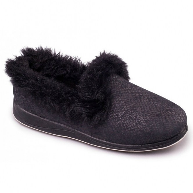 57c7af7ef498 LUXURY Ladies Microsuede Extra Wide (2E) Slippers Black