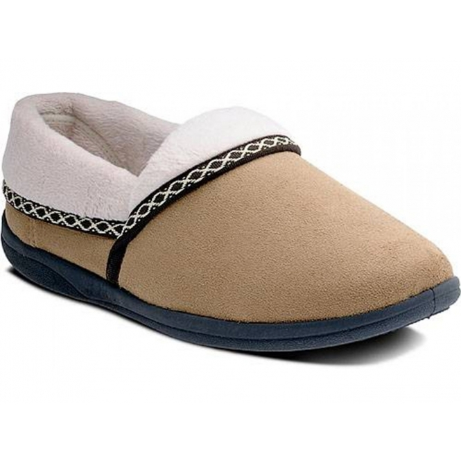 5ae8aafb374 MELLOW Ladies Fleece Extra Wide (2E) Full Slippers Camel
