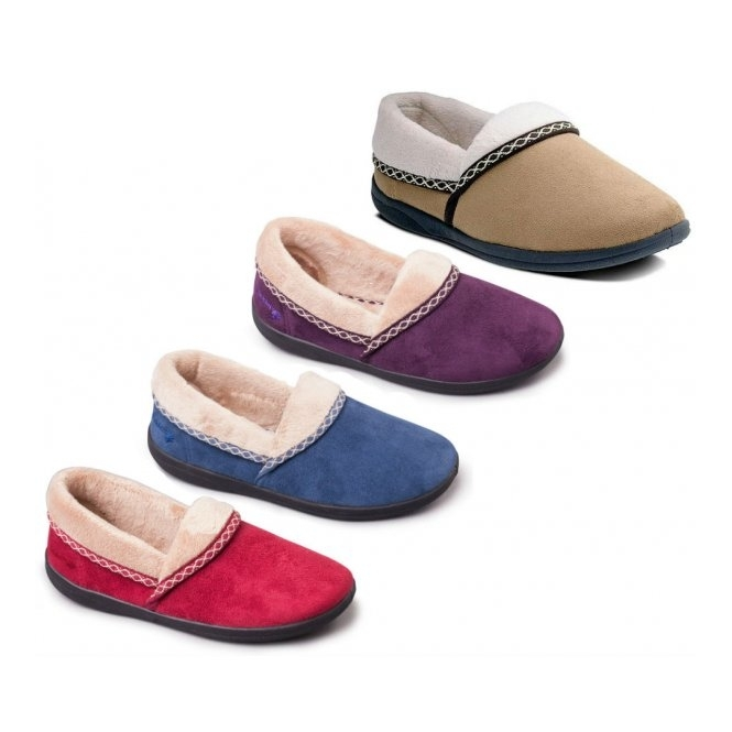 58ef8992745d9 Padders MELLOW Ladies Slip On Wide Slippers Cherry | House Of Slippers
