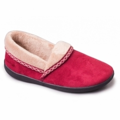 MELLOW Ladies Fleece Extra Wide (2E) Full Slippers Cherry