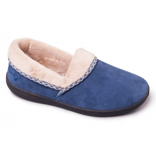 50ee83862 Padders MELLOW Ladies Slip On Memory Foam Slipper Blue|House Of Slippers