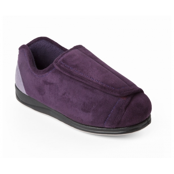 a0e4dc70b5a PAULA Ladies 4E/6E Wide Fit Touch Close Slippers Purple