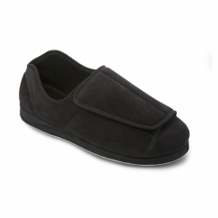 PETER Mens Microsuede Extra Wide (H/K) Full Slippers Black