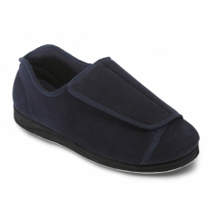 PETER Mens Microsuede Extra Wide (H/K) Full Slippers Navy
